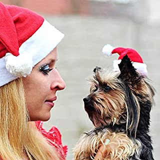 Hemore Puppy Dog Holiday Christmas Hat Puppy Dog Santa Hat Costume Christmas Hat