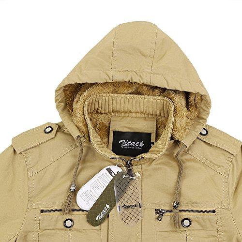 Zicac Männer Jacke Verdicken Wärme Thermische Coat Freizeitjacke Khaki