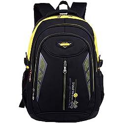 Escuela Mochila Portátil Backpack Casual Impermeable Mochila Niños Adolescentes Amarillo