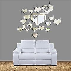 Idea Regalo - Specchi Adesivi Decorativi,Adesivi Specchio Adesivi Da Parete Home 3D Removibile Cuore Arte Decor Muro Adesivi Soggiorno Decorazione Morwind (Argento)