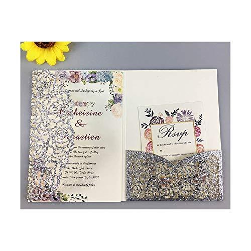 AOWEIRILUV 10 Stück Blaue Rose golden lila Tasche Hochzeit Einladungskarte Umschlag