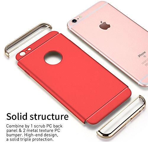 iPhone 6s Hülle, RANVOO Elektroplattierter Kappen mit einer Matter Oberfläche 3-Teilige Styliche Extra Dünne Harte Schutzhülle Case for iPhone 6 Silber,[CLIP ON] Rot