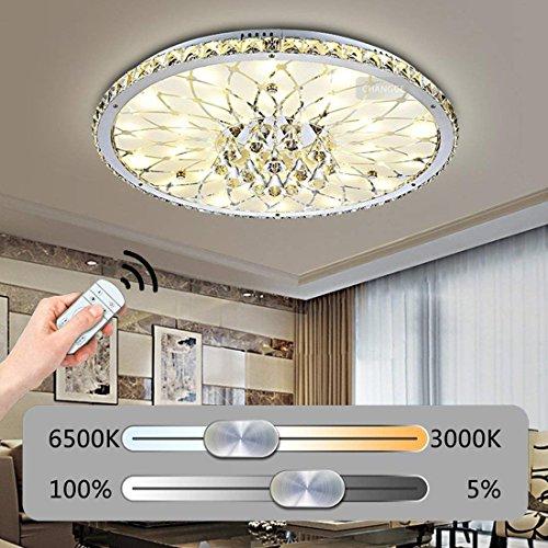 LED Dimmbar Deckenleuchte Deckenstrahler Modern Runde Kristall Design Deckenlampe Kreative Minimalistische Lampe Innen Decke Leuchte Beleuchtung Schlafzimmer WohnzimmerLeuchte mit Fernbedienung Ø43CM