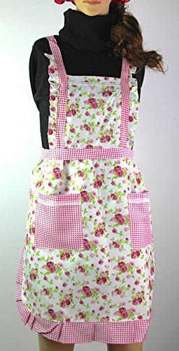 Doppel-schürze (RayLineDo Stilvolle Rose Blumenmuster Frauen Köche Kochen Koch Schürze Wappenrock mit Doppel Doppeltaschen)