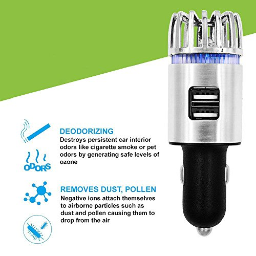 Unbekannt 2-In-1-Ionen-Auto Luftreiniger und Geruchsbeseitiger mit Dual-Interface mit Nachtlicht 2.1 A USB-Anschluss,Silver