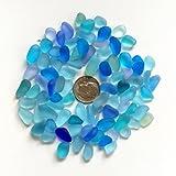 Perline di vetro di mare/spiaggia perline di vetro per fare gioielli (taglia piccola/8–12mm, multicolore blu cobalto Aqua purple-blue mix, non forato), 50 pezzi
