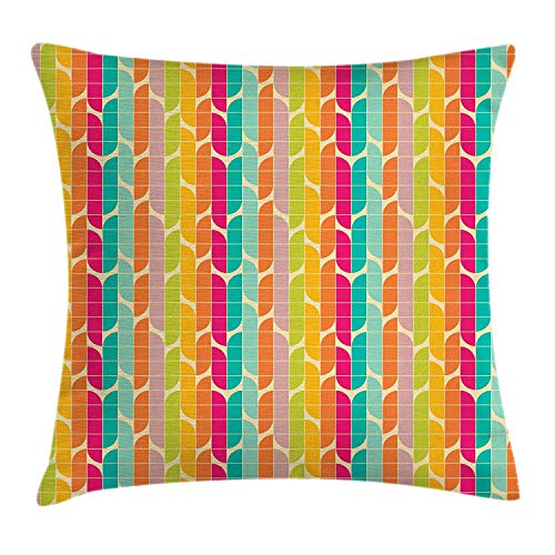 WCMBY Retro Throw Pillow Cushion Cover, Bauhaus Style Inspired Colorful Square Tiles Quarter Circles...