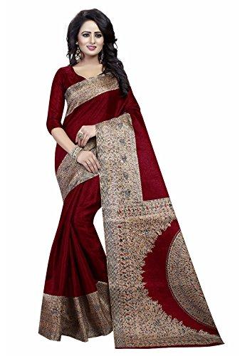 Ishin Art Silk Saree with Blouse Piece (SWAYAKALAMKAARISILKMAROON_Free Size)