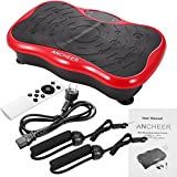 Vibrationsplatte Ganzkörper Trainingsgerät mit USB-Lautsprecher,LCD Display,Trainingsbändern,Fernbedienung Rot Schwarz (Schwarz)