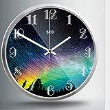 Djkaa Aurora Paysage Horloge Murale en Verre de Verre Salon Rond Moderne décor à la...