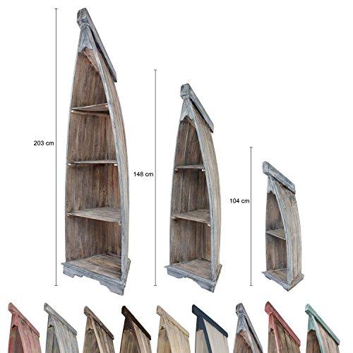 Badregal Bootsregal Boot Regal Bücherregal Bücherschrank Standregal Aufbewahrung 148 cm Albesia Holz Braun Blau (Bücherregal Boot)