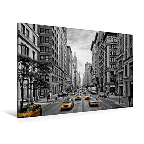 Calvendo Premium Textil-Leinwand 120 cm x 80 cm quer, NYC 5th Avenue Yellow Cabs | Wandbild, Bild auf Keilrahmen, Fertigbild auf echter Leinwand. Straßenszene aus Manhattan Orte Orte