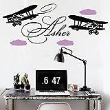 Vinyl Wandtattoo Flugzeug Flieger Doppeldecker mit Namen für Mädchen Junge Kinder Wolken Wandaufkleber Wandsticker Wanddekoration für Schlafzimmer Kinderzimmer Babyzimmer M175