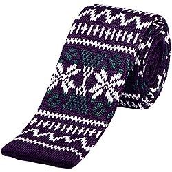 DonDon corbata de punto estrecha de color - patrón noruego 3