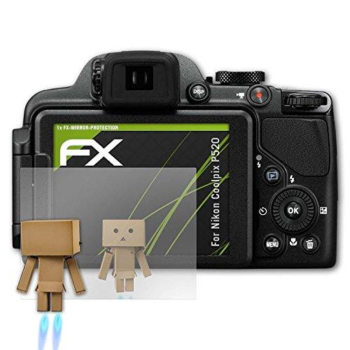 atFoliX Displayfolie kompatibel mit Nikon Coolpix P520 Spiegelfolie, Spiegeleffekt FX Schutzfolie
