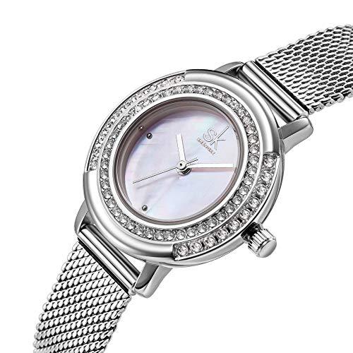 GAO Silber Frauen Mädchen Damen Diamant Ultradünne 8mm Quarzuhr 28mm Edelstahl Mesh Gürtel Einfache Art Und Weise Wasserdicht 3ATM cool