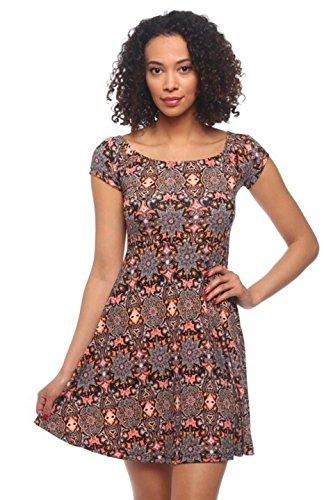 2LUV Damen Kleid mehrfarbig weiß/schwarz S Gr. L, Brown Pink (Tween Dressy Kleider)