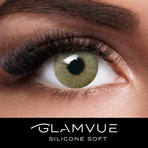 GLAMVUE SILICONE SOFT Sydney Green + Behälter I Sehr stark deckende grüne natürliche Kontaktlinsen farbig I 1 Paar (2 Stück) I DIA 14.00 I ohne Stärke