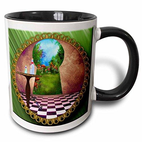 3drose Tasse 128860_ 4, durch die Schloss Alice im Wunderland Art karierten Boden Flasche Magic Wasser zweifarbig schwarz Tasse, 11Oz, schwarz/weiß
