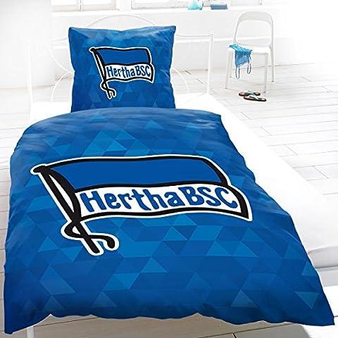 Hertha BSC Bettwäsche Polygon 135x200 cm 2-teiliges Set blau Vereinsflagge