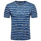 ABsolute Herren Shirts T-Shirts, Kurzarm Shirts Klassisches Streifen T-Shirt Print Shirt Basic V-Ausschnitt Kurzarmshirt Sweatshirt Weste Tops Große Größe S-XXL ABsoar (XXL, Blau)