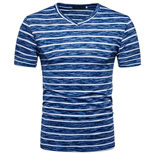 T-Shirts, Kurzarm Shirts Klassisches Streifen T-Shirt Print Shirt Basic V-Ausschnitt Kurzarmshirt Sweatshirt Weste Tops Große Größe S-XXL ABsoar (M, Blau) -