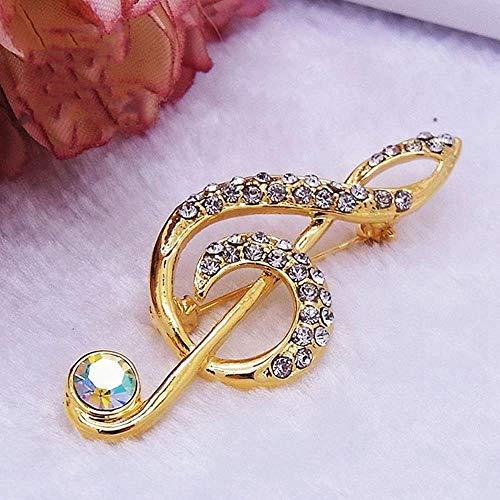 ZhiGe Broche Bijoux Broche Bijoux Notes Classique Mode coréenne Cristal Strass Pull Broche Costume Petite Broche