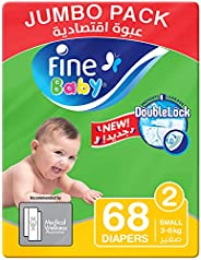 Fine Baby Diapers, DoubleLock Technology , Size 2, Small 3-6kg, Jumbo Pack. 68 diaper count
