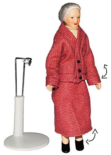 Oma / Großmutter - Puppe für Puppenstube - Maßstab 1:12 - Porzellan mit echten Haaren & incl. Ständer - Biegepuppen Familie Biegepuppe Nostalgie Porzellanpuppe Puppenhaus Sammlerpuppe Nostalgie - Mutter Frau - Porzellanpuppen - Uroma Puppen Puppenhaus 1 12 Maßstab Familie