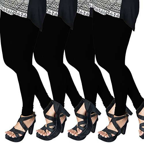 ESSEMM Combo Offer (Pack of 4) Casual Legging Premium Quality Super Soft Stretchable and Comfortable Free Size Leggings for Women/Girls (Color_Black)