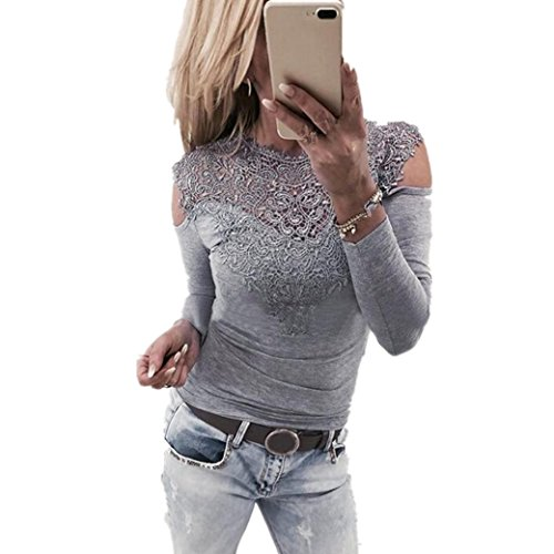 Bekleidung Longra Longra Damenmode Sexy Blusen Elegante Blusen Festliche blusen Damen Langarm Shirt Schulterfrei Oberteile Spitzenbluse tunika Tops Slim Fit blusenshirt T-Shirt (Gray, L) (V-neck Kleid Tunika Knit)