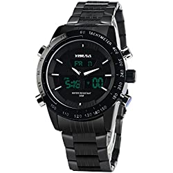 YISUYA Mens Analogue Digital Quartz Wrist Watch Night Vision Military Sport Stainless Steel Band