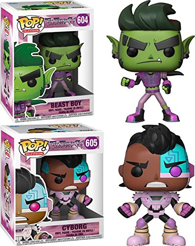 Funko POP Teen Titans Go Night Begins To Shine Beast Boy Cyborg DC Stylized Cartoon Vinyl Figure Set NEW