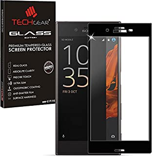 TECHGEAR Screen Protector for Xperia XZ/XZs - 3D GLASS Edition FULL Screen Coverage Tempered Glass Screen Protector Guard Cover Compatible with Sony Xperia XZ/XZs (Black)