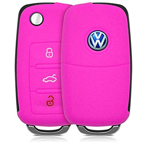 Hülle für VW Skoda Seat 3-Tasten Autoschlüssel - kwmobile Silikon Schlüssel Schutzhülle in Pink - Etui Schlüsselhülle Cover Klappschlüssel