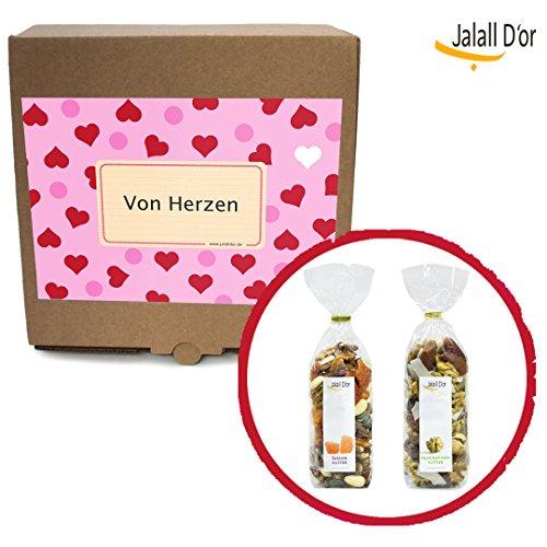 Geschenkbox VON HERZEN von Jalall D'or | Seelenfutter & Inspirationsfutter | 2 ausgefallene Trockenfrucht-Nussmischungen | Geburtstagsgeschenk Männer & Frauen | Originelles Geschenk für Mann & Frau