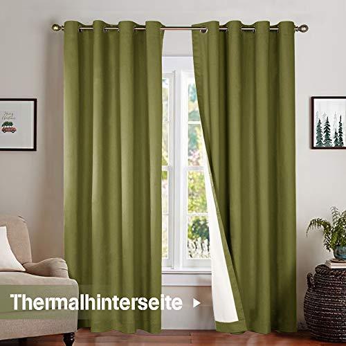 JINCHAN Thermo-Verdunklungsvorhänge,Vorhänge Blickdicht mit Ösen 2 Stücke 213 x 127cm (H x B), 2er-Set, Grün - Vorhänge Zwei Panel-grüne