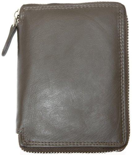 Herren Braunes Leder Portemonnaie Kabana mit Metall-Reißverschluss um