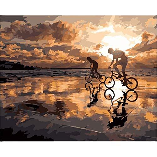 LIGGMI DIY-Ölgemälde Nach Zahlen,Malen Nach Zahlen Landschaft Sonnenuntergang Peer Ölfarbe Malen Nach Zahlen Moderne Sonnenuntergang Landschaft Home Decor Wandkunst Handwerk Bild
