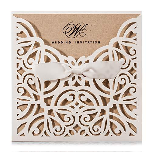 WISHMADE 20pcs Blanc Laser Carré Coupé Invitations De Mariage Cartes Kits Avec Bowknot Carton...