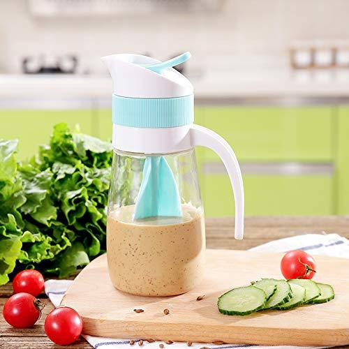 Salat Dressing Shaker, Soßenspender Dressingshaker für Salatsoßen, Öl Soja Spender, Ölflasche, Sauciere, Twist und Pour Mixer für Salatdressing Kunststoff BPA frei