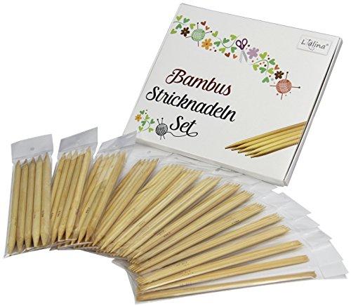 Lialina® Spar-Paket 14ER-SET BAMBUSHOLZ DOPPEL-STRICKNADELN in alle gängigen Größen 2.25 - 10.0 mm für Ihr nächstes Strick-Projekt Schal Socken Mütze Handschuhe Babykleidung usw.