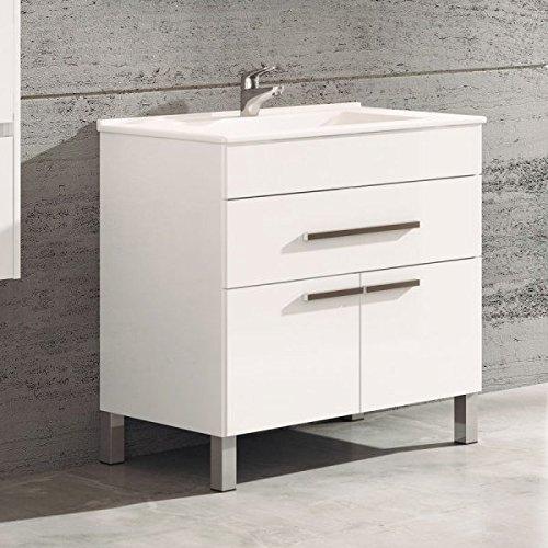 Ducha.es Vega Ensemble de bain avec meuble et vasque en céramique 60cm, blanc