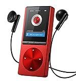 OMORC 130AR - MP3 Lettore Portatile MP3 Player con Fascia Sportiva Lettore MP3 per Correre 8GB Radio FM Registrazione A-B Ripetizione 11 Luminosità 24 Lingue Materiale Lega di Alluminio. Rosso