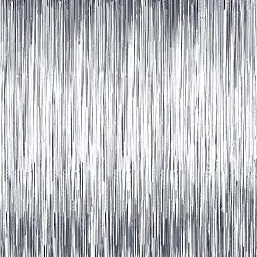 10 Packungen Folie Fringe Kulissen Wand Lametta Vorhänge Tür Fringe Vorhänge für Thanksgiving, Weihnachten, Disco, Geburtstag, Abschluss Party Dekorationen Silvester Party Lieferungen (Matt Silber)