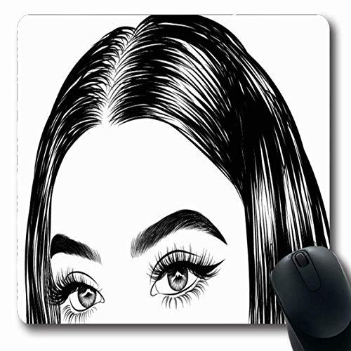 Tappetino per il mouse Ragazza Ciglia Disegnati a mano Capelli setosi Rivista lussuosa Cura degli occhi Sopracciglio Trucco perfetto Tappetino da gioco antiscivolo Tappetino per mouse Tappetino in gom