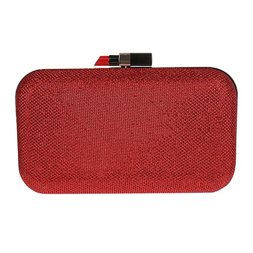 Genda 2Archer Borsa di Cluth del Partito del Rossetto delle Donne Matrimonio Abbagliante, Sacchetto di Spalla di Sera (20 cm * 4cm * 12cm) Rosso