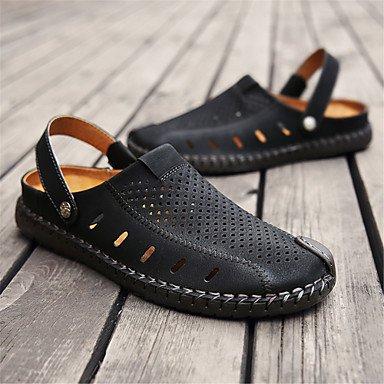 Los hombres sandalias Primavera Verano Confort Soles de luz exterior de cuero Casual talón plano caqui oro negro Zapatos para caminar US8 / EU40 / UK7 / CN41