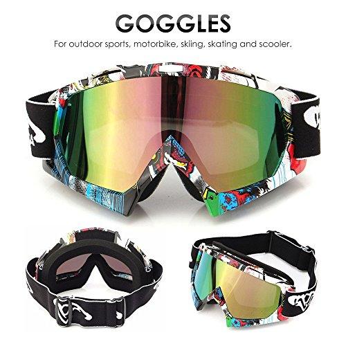 AUDEW Motorrad Goggle Motocross Dirtbike Crossbrille Sportbrille Wind Staubschutz Fliegerbrille Snowboardbrille Schneebrille Skibrillen Wintersport Brille Off-Road Schutzbrille QL037farbig