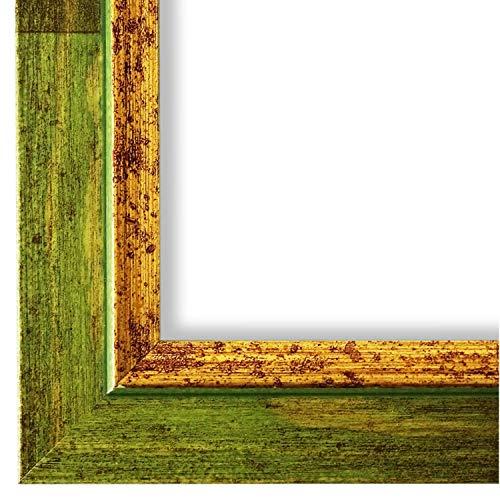 Online Galerie Bingold Bilderrahmen Grün Gold DINA4(21,0x29,7) - DIN A4 (21,0 x 29,7 cm) - Modern, Shabby, Vintage - Alle Größen - handgefertigt in Deutschland - WRF - Catanzaro 3,9 -